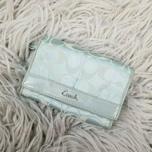Coach Baby Blue Fold Over Wallet